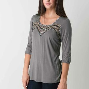 BKE Boutique Gray Embellished Blouse